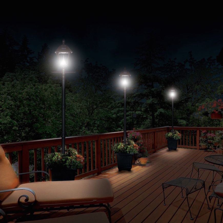 Placing lanterns along a structure is a good way to highlight the edge. These lanterns are around the perimeter of a deck.