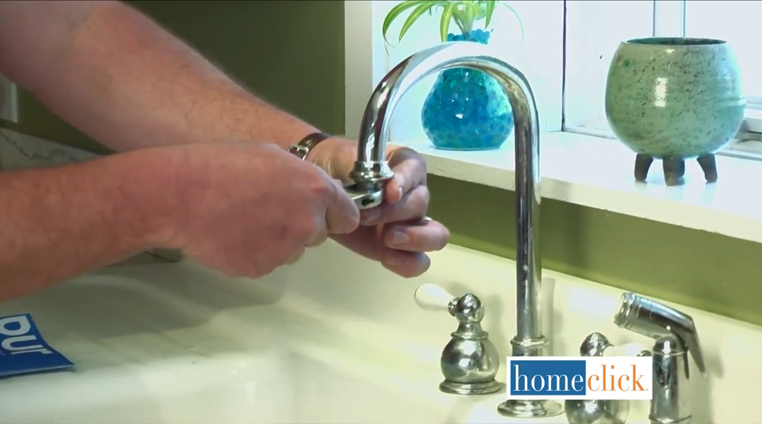 You can remove the aerator - that little screen on the tip of the faucet that makes water flow smoothly - using your adjustable wrench. Don't be too tough on it, and you should be fine. Once it's loose enough, remove it by hand.