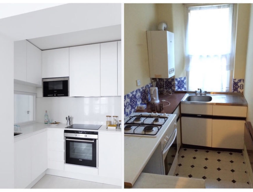 The kitchen has perhaps the most dramatic transformation, with the pristine white cabinetry and sleek appliances at left replacing the dank, claustrophobic space at right.