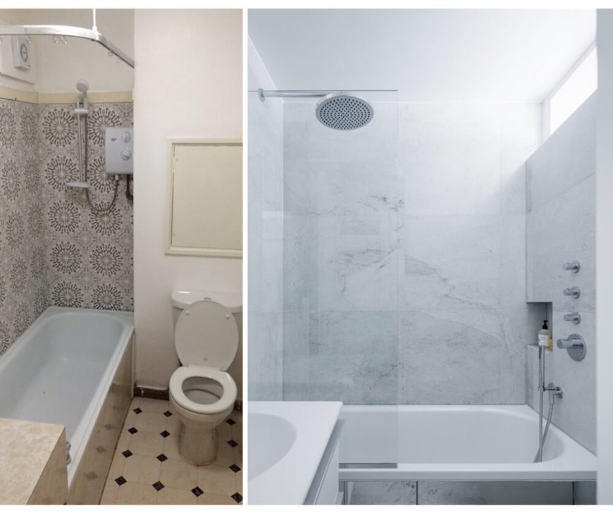 The bathroom also sees a massive tonal shift, from a dark and busy palette to the refreshing white and marble space it is now. The simple bath was replaced by an expansive soaking tub with a glass enclosure for a more open look.