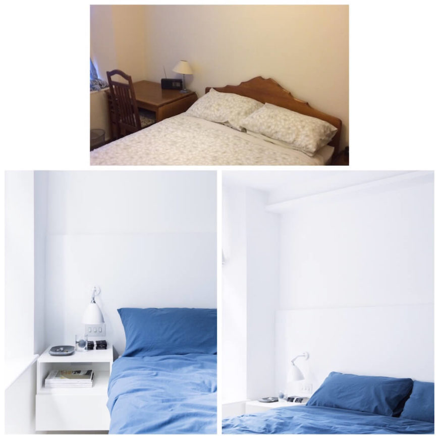 Here we see how the complete color palette shift has resulted in a sleek, modern, and much more welcoming master bedroom.