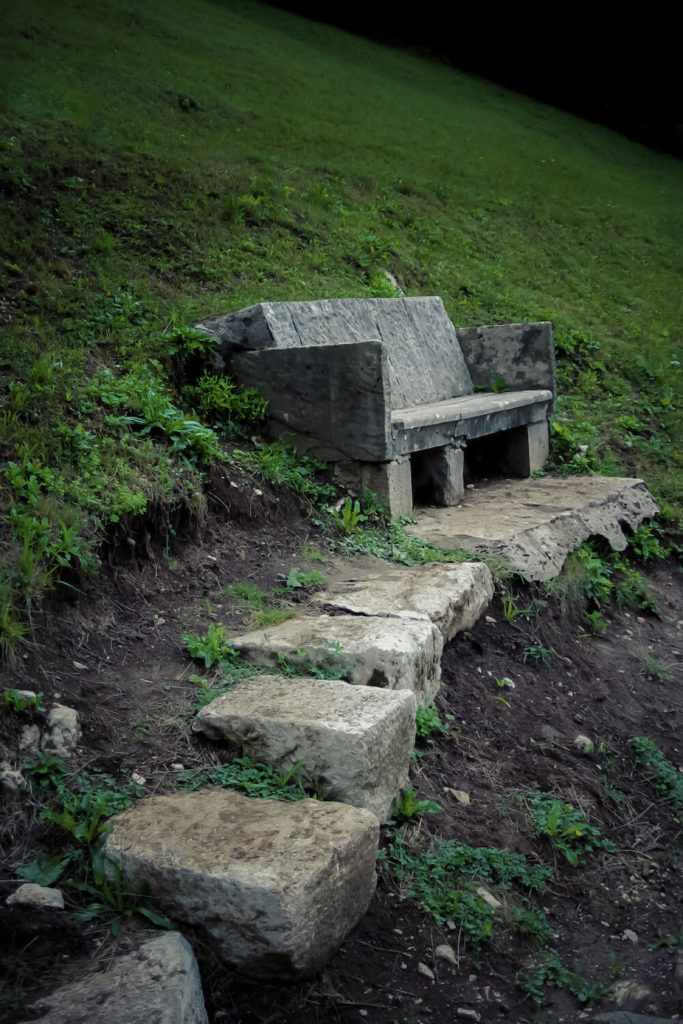 Stone Bench Ideas Part - 38: Here Is A Stunning And Isolated Stone Bench In The Side Of A Hill. This
