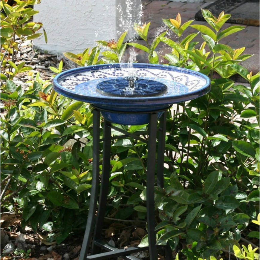 Here Is A Colorful Ceramic Bird Bath With A Water Fountain Feature That  Shoots Water Into