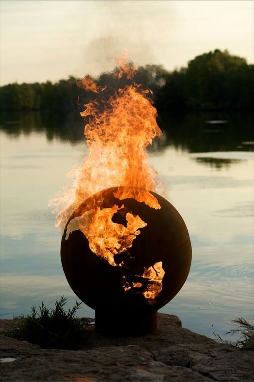 Sculptures can also have function. This amazing piece also doubles as a light and heat source. This globe on fire has a huge visual appeal with an unmistakable cool factor.