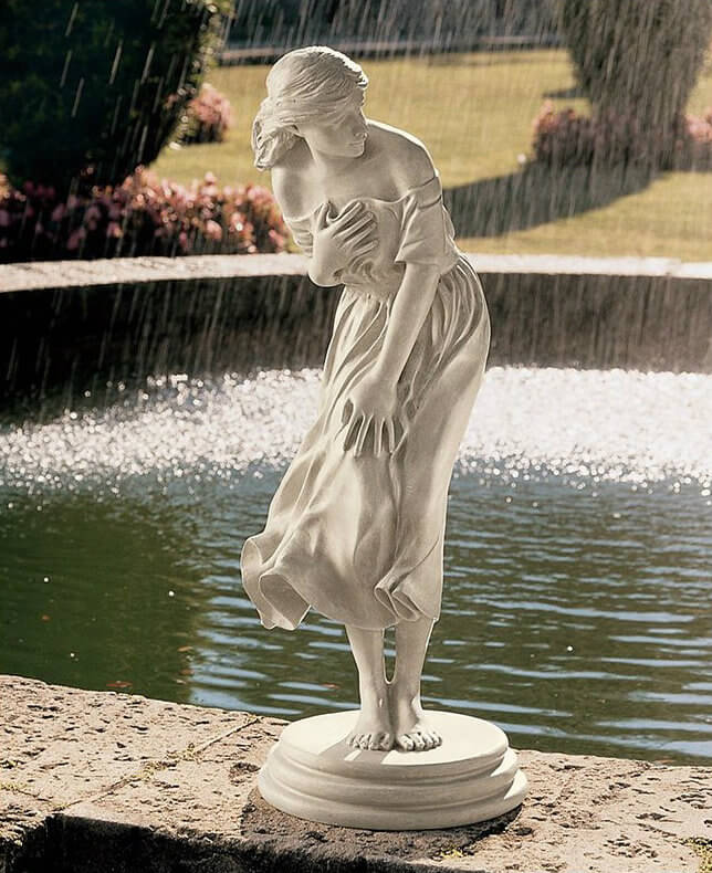 Here is a statue that is reminiscent of classic sculptures. This statue can easily add a touch of class and sophistication to your fountain or garden. The beauty of the classic artists are easily available for your yard with sculptures such as this.