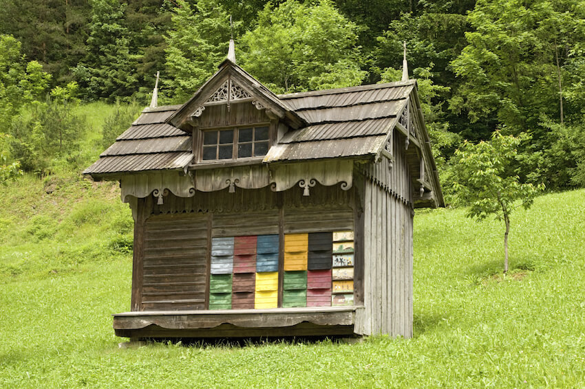 Here's one of our favorite beekeeping designs, a fully fleshed out miniature cabin style house with colorful pull-out drawers for observation. The structure features stylistic embellishments and tiny windows, in addition to a sturdy roof.
