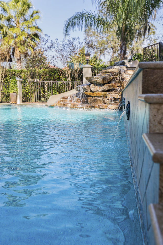 Fountains are also at home in a water park. Placing interesting fixtures that spew water into your pool can really get the water moving and the good times rolling.