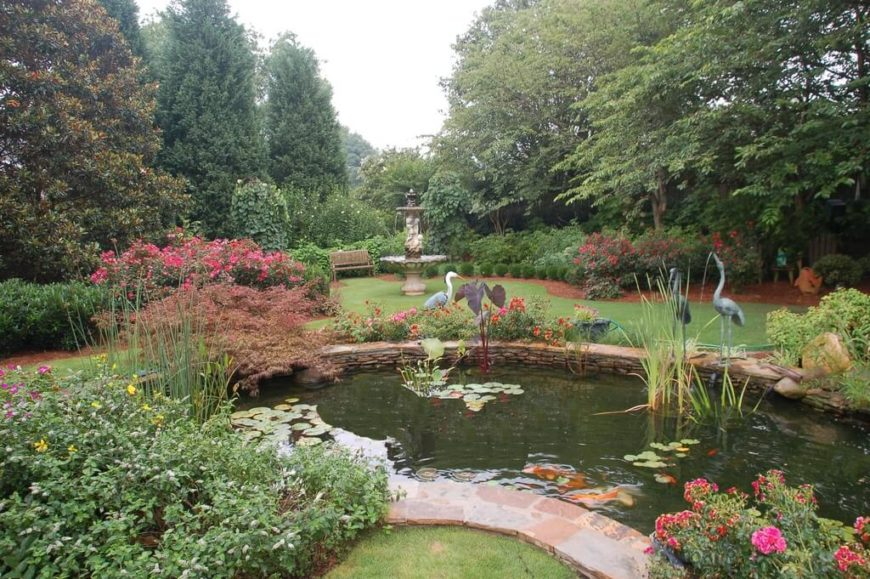 Large Gardens Work Great Around Ponds And Fountains. This Pond Looks  Amazing Surrounded By The