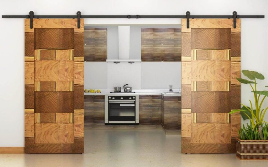 The exotic mosaic of these doors is in wood, and is creating using varying wood grain patterns, species, and colors. This is a perfect addition to a modern, minimalist, or Asian style home.
