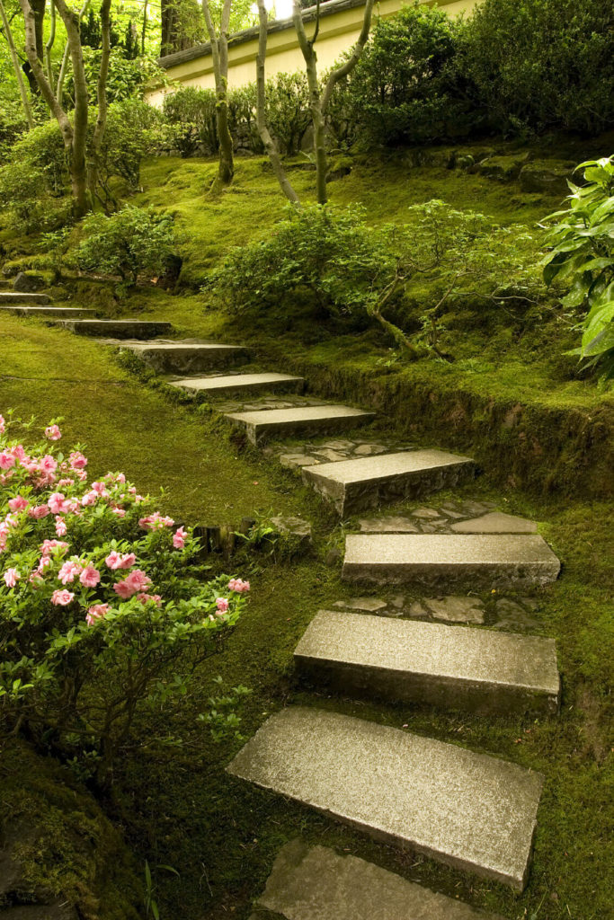 These Stone Steps Have Both Finely Carved Elements And Rustic Rough Cut  Portions. This Blends