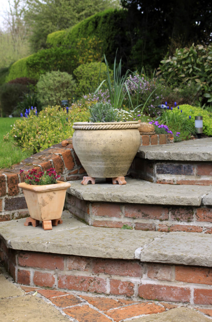 Brick And Stone Work Well Together. Stone Top Steps On Brick Bases Is A  Great