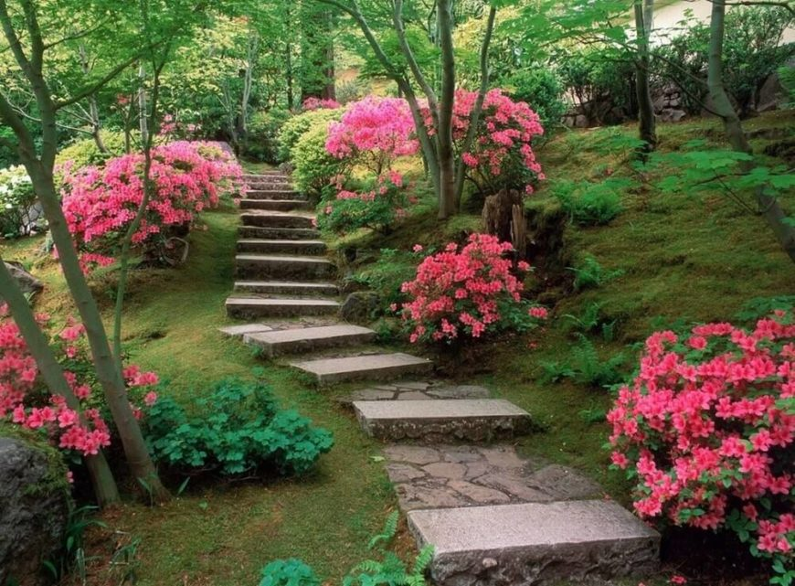 These stone steps combine well cut stone with rough textured stone. The stone steps lead through lovely flower bushes and a lush cropping of trees, creating a fantastic place to take a walk.