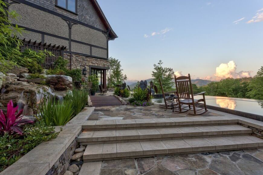 Here Is A Beautiful High End Patio With Sleek And Finely Carved Stone Steps.  These