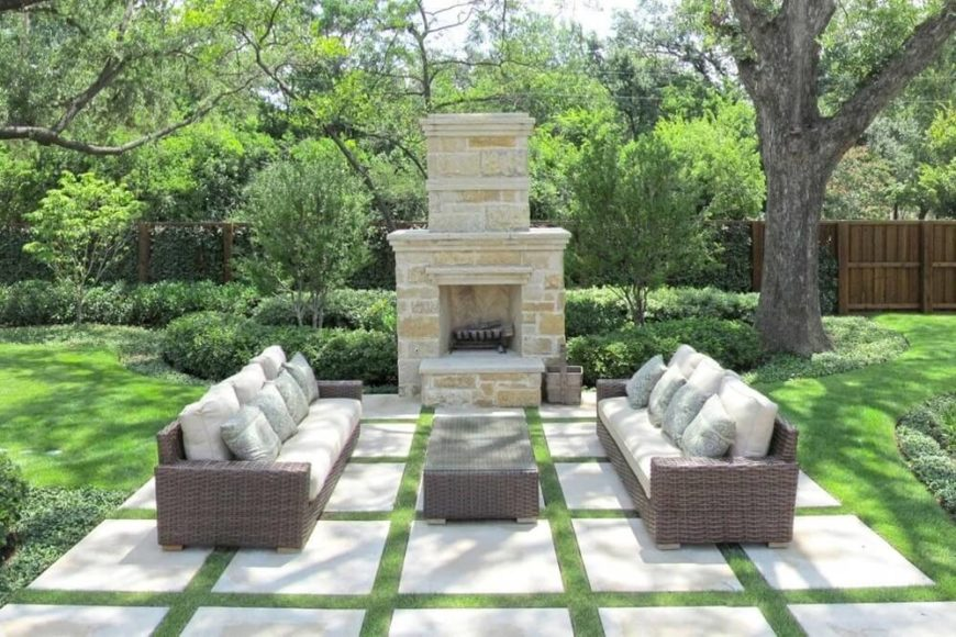 Exceptional This Patio Is Constructed From A Number Of Square Stone Slabs Lined With  Patches Of Grass