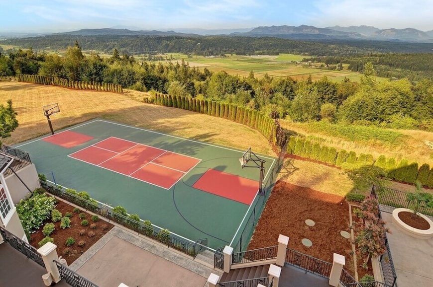 34 spectacular backyard sports court ideas for How much to make a basketball court