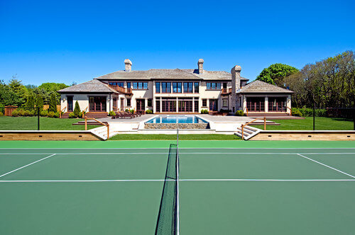 This Lovely Green Tennis Court Matches Well With The Rest Of The  Landscaping In This Yard