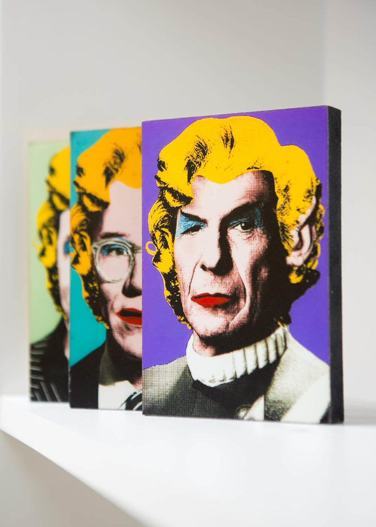 Speaking of artwork, the living room also hosts these unique paintings, done in the style of Andy Warhol's pop art. Of course, that's Leonard Nimoy in the front.